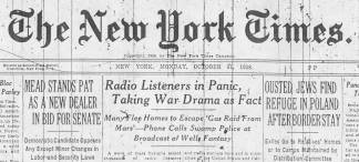 NEW YORK TIMES 1938 HEADLINES ABOUT THE RADIO BROADCAST OF WAR OF THE WORLDS - ENLARGE (MORE)